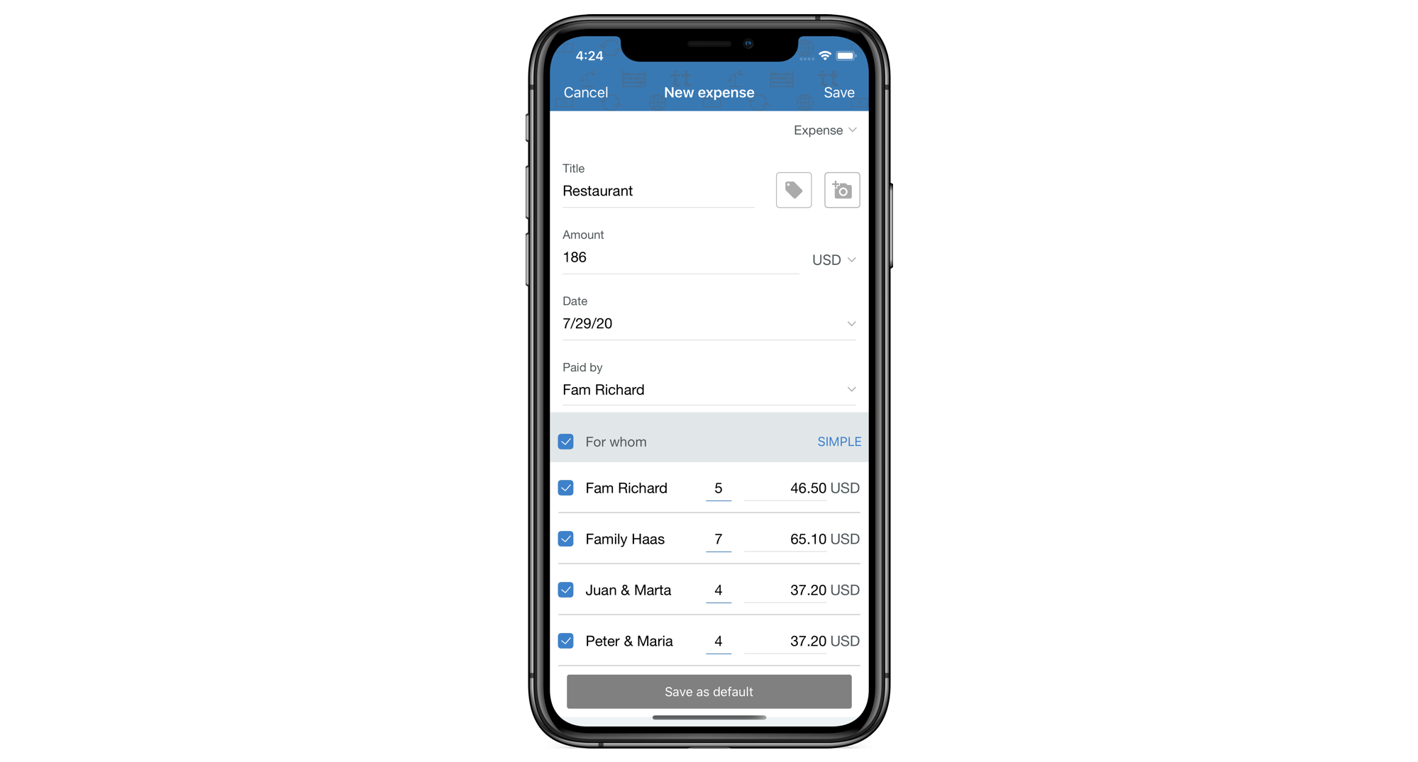 Share holiday expenses unevenly in the app